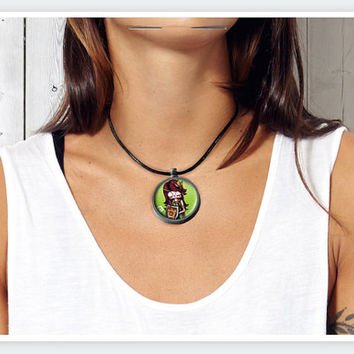 Zombie Zodiac Virgo Art Pendant by LostColours