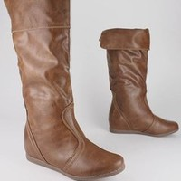 stitch trim leatherette boot $29.20 in BLACK CHSTNT - New Shoes | GoJane.com