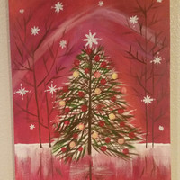 Hand painted wood framed canvas - Holiday Tree