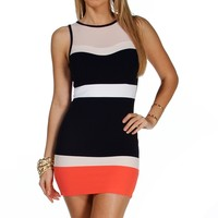 Sale-navy Colorblock Sleeveless Dress