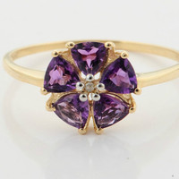 Unigue Floral Ring Amethyst & White Zircon Yellow Gold, Wonderful gift, Lady rings, Fine jewelry, Women custom rings, Anniversary gift