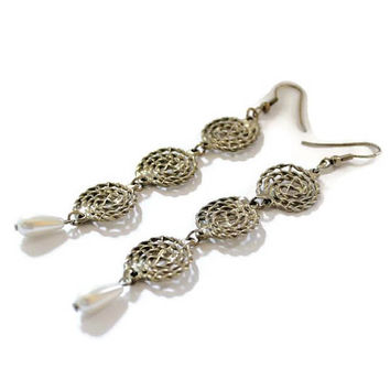 Long Teardrop Pearl And Scroll Dangle Earrings In Gold Tone,  3 3/4 inches Long