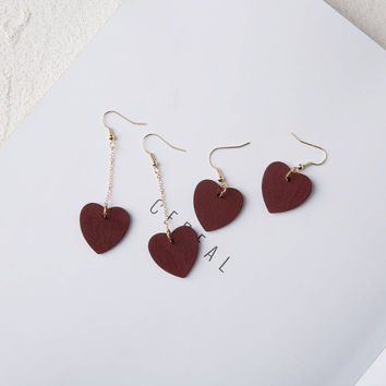 Bui - Gold plated heart shaped minimalist wooden drop earrings