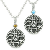 Amulets Love Couple or Best Friends Celtic Wolf Paw Tiger Eye and Simulated Turquoise Pendant Necklaces