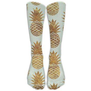 Pineapple Novelty Cotton Knee High All-Over Printed Socks