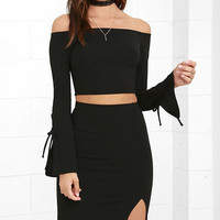 Bold Move Black Off-the-Shoulder Two-Piece Dress