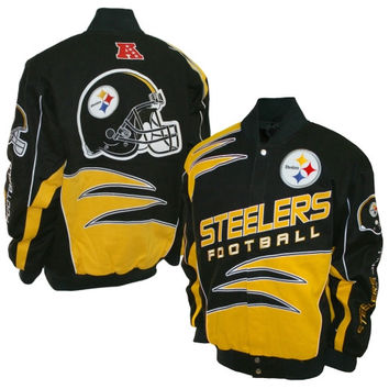 Pittsburgh Steelers Shred Cotton Twill Jacket – Black