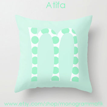 "Monogram Personalized Custom Pillow Cover ""Atifa"" 16"" x 16"" Couch Art Bedroom Decor Initials Name Letter Mint Chrysalis Green Polka Dots"