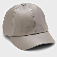 Faux Leather Weekend Baseball Hat - Grey