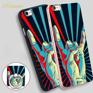 Minason Rock Hand Gesture Sign Mobile Phone Shell Soft TPU Silicone Case Cover for iPhone X 8 5 SE 5S 6 6S 7 Plus