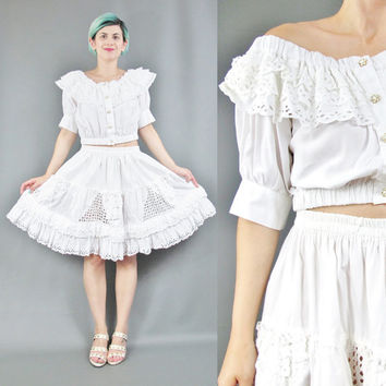 80s 90s White Cotton Two Piece Dress Eyelet Lace Dress Cut Outs Co-ords Set Matching Outfit Off Shoulder Top High Waist Skater Skirt  (S/M)
