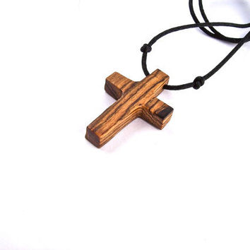 Wood Carved Cross, Handmade Cross, Wood Jewelry, Bocote Wooden Cross, Wood Pendant, Wood Cross Pendant, Religious Pendant, Christian Jewelry