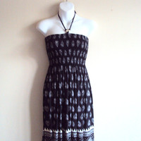 Paisley Tube Dress Strapless Black and White Dress Spring Summer Dress Women's Clothing Fashion Mother's Day Gift