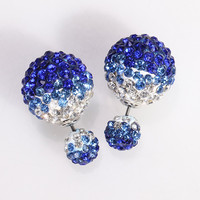 Mise en Gum Tee Style Tribal Earrings  - Crystal Drip Dark Blue