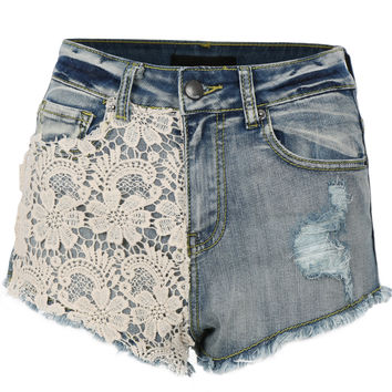 LE3NO Womens Casual High Waisted Distressed Cutoff Denim Shorts with Stretch (CLEARANCE)