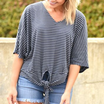 Loving My Life Stripe Knot Top - Navy