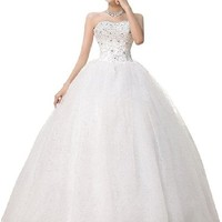 jeansian Women White Strapless Formal Wedding Dress Prom Gown Shirt Tops WVA001