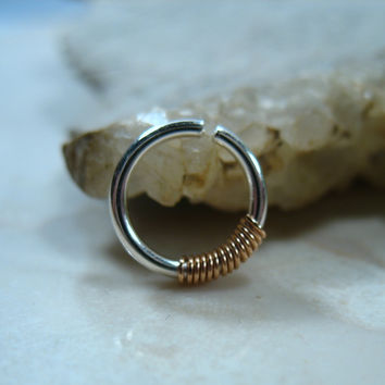 Septum & Nipple Ring Silver with Pink Gold Wrap