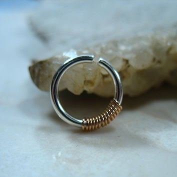 Septum Ring Silver with Pink Gold Wrap - Septum Ring, Nose Ring, Nipple Ring
