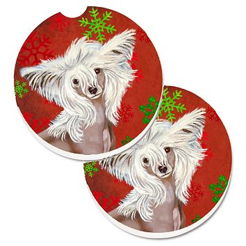 Chinese Crested Red and Green Snowflakes Holiday Christmas Set of 2 Cup Holder Car Coasters LH9347CARC