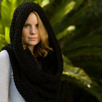 Hooded Cowl, Black Crochet Hood