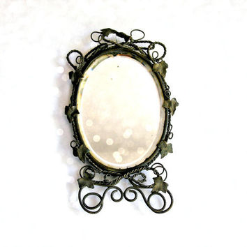 Mirror Mirror on the Wall Twisted Wire Ivy Leaves Beveled Glass Shabby Antique Looking Glass