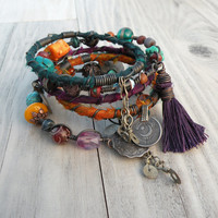 Silk Road Gypsy Bangle Stack - Jewel Tones - 6 Bohemian Tribal Bracelets, Silk Wrapped and Beaded