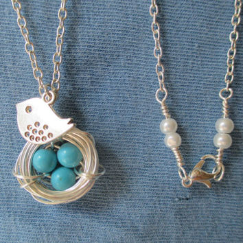For Mom or Mom-to-Be: Bird's Nest Necklace, Made-to-Order With One, Two, or Three Eggs in the Nest. Any Mom Will Love This!