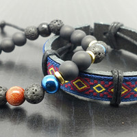 Men's Bracelet Set- Stone Beaded bracelet with matching leather band-18