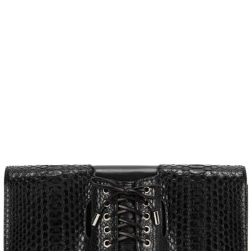 Le Corset python-effect leather clutch