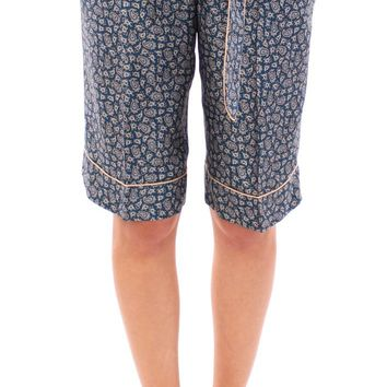 Blue PAJAMA silk shorts