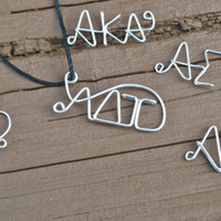 Wire Wrapped Necklace Sorority Letters Greek Letters Sorority Jewelry