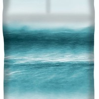 Turquoise Waves Queen Duvet Cover