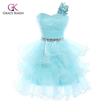 Sexy Short Puffy Prom Dresses 2017 Grace Karin One-shoulder Blue Pink Organza Tutu Crystal Homecoming Ball Gown Party Dress