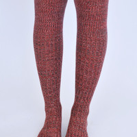 Knit Knee High Boot Sock- Red