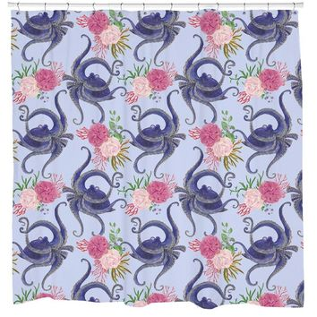 Blue Sea Floral Octopus Squid Shower Curtain