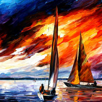 "With The Wind — PALETTE KNIFE Abstract Oil Painting On Canvas By Leonid Afremov - Size: 36"" x 30"" (90cm x 75cm)"