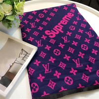 """Louis Vutitton LV×Supreme"" Women Fashion Multicolor Logo Letter Cashmere Scarf Shawl"