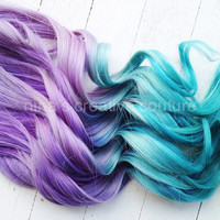 "Ombre Hair,Tie dye Hair, Festival Hair, Hair Extensions, Lavender and Icy Blue Green, 22""/Customize your Base"