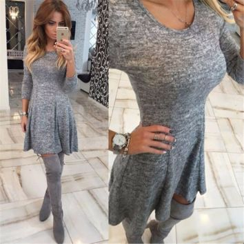 Beautiful Grey Long Sleeve Loose Stylish Dress