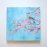 Original Oil Painting - Cherry Blossoms and Bird