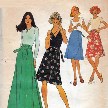 Simplicity 7352 Sewing Pattern Retro 70s Classic Wrap Apron Skirt Maxi Midi Length Boho Hippie Style Waist 28