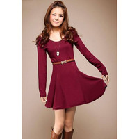 Wine Red Cold Shoulder Long Sleeve Dress