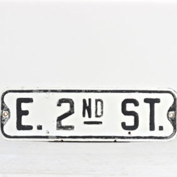 Street Sign, E. 2nd Street Sign, Vintage Street Sign, Traffic Sign, Black and White Street Sign, Industrial Decor, Old Street Sign