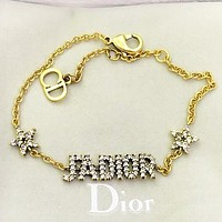 Dior New fashion  more diamond letter star bracelet accessory Golden