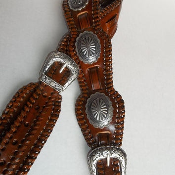 Leather Guitar Strap with Conchos Western Guitar Strap, Rocker Style Guitar Strap, Custom, Handmade Guitar Strap, Brown