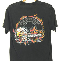 Vintage 1990s Black Wolf and Eagle HARLEY DAVIDSON short sleeve Grunge ROCK graphic T-shirt