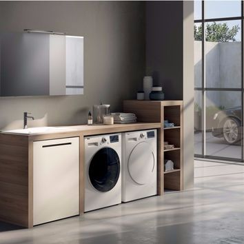 SECTIONAL LAUNDRY ROOM CABINET WITH MIRROR MAKE WASH 02 | LASA IDEA