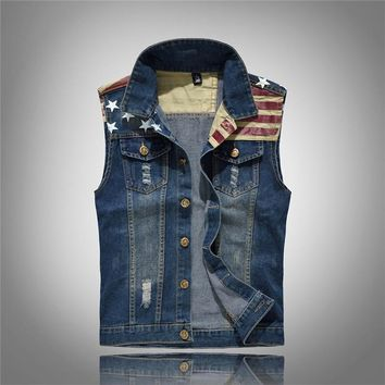 Trendy New Arrival Men's Denim Vest Jeans Fashion Pockets Vest Men Cowboy 5XL Sleeveless American Flag Patchwork Jacket For Men AT_94_13