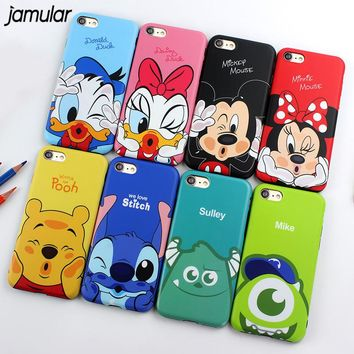 JAMULAR Cartoon Minnie Mickey Mouse Donald Daisy Duck Soft TPU Case for iPhone X 7 8 Plus Cases For iPhone 6s 7 Plus Covers Capa